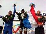 Op het podium Tim (rechts) met brons.