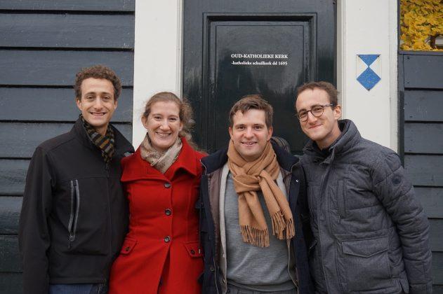 (vlnr) Omri Epstein, Maria Milstein, Mathieu van Bellen en Ori Epstein.